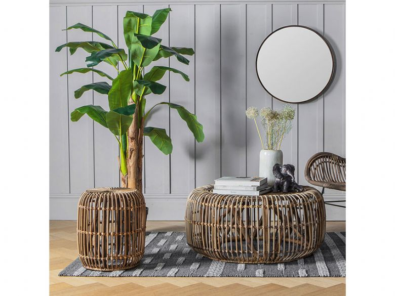 Willow round rattan occasional tables