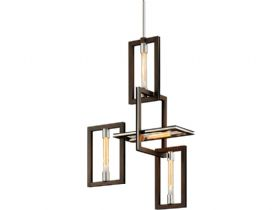 Enigma Bronze and Stainless 4 Light Chandelier