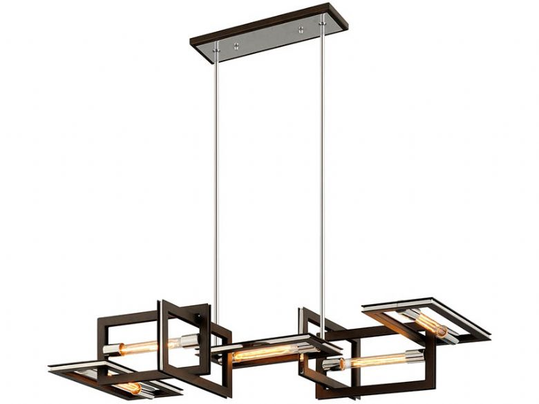 Enigma modern bronze and stainless 5 light linear chandelier