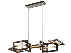 Enigma Bronze and Stainless 5 Light Linear Chandelier
