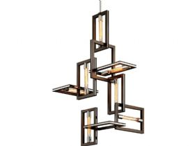 Enigma Bronze and Stainless 7 Light Chandelier