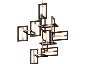 Enigma Bronze and Stainless 9 Light Chandelier