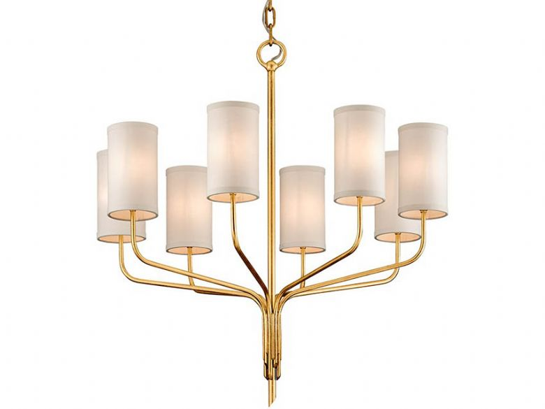 Juniper 8 light gold chandelier with offwhite shade available at Lee Longlands