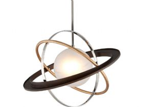 Apogee Bronze, Gold Leaf and Stainless 1 Light Pendant