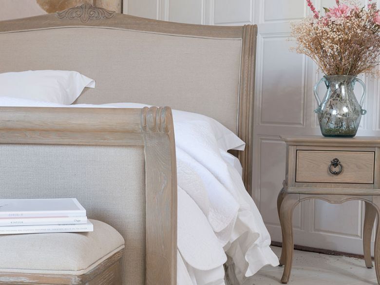 Camille upholstered bench and bed frame