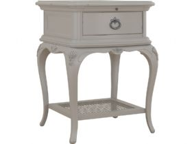 Etienne grey distressed bedside table available at Lee Longlands
