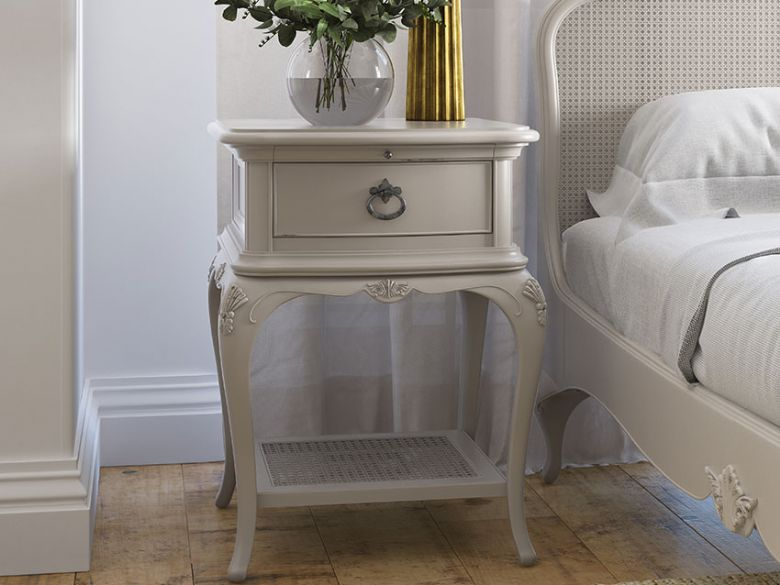 Etienne one drawer one shelf grey bedside table
