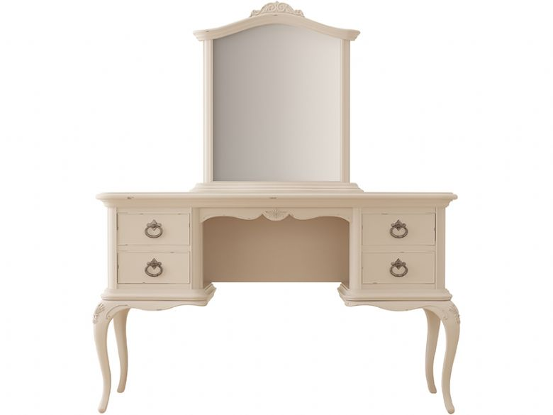 Ivory offwhite vanity table with distressed finish
