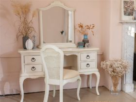 Ivory bedroom collection with distressed finish