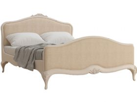 Ivory distressed upholstered double bedframe available at Lee Longlands