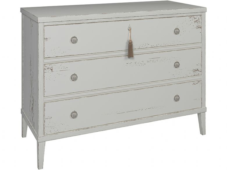 Atelier distressed white 3 drawer chest available at Lee Longlands