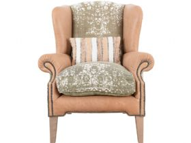 Tetrad Montana leather and fabric wing chair available at Lee Longlands