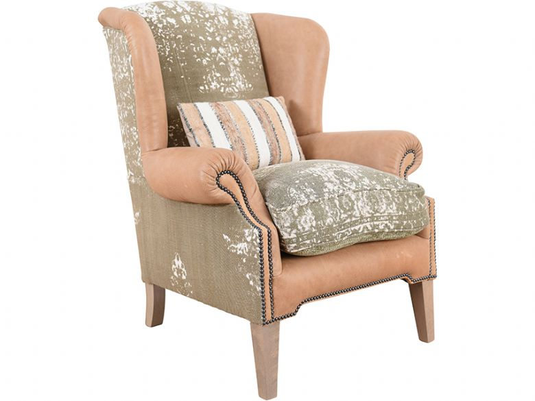 Tetrad Montana wing chair with beige fabric seat