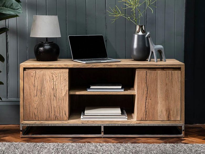 Olette TV unit rustic wood finish available at Lee Longlands