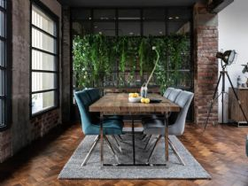 Olette rustic wood and metal dining and living room collection