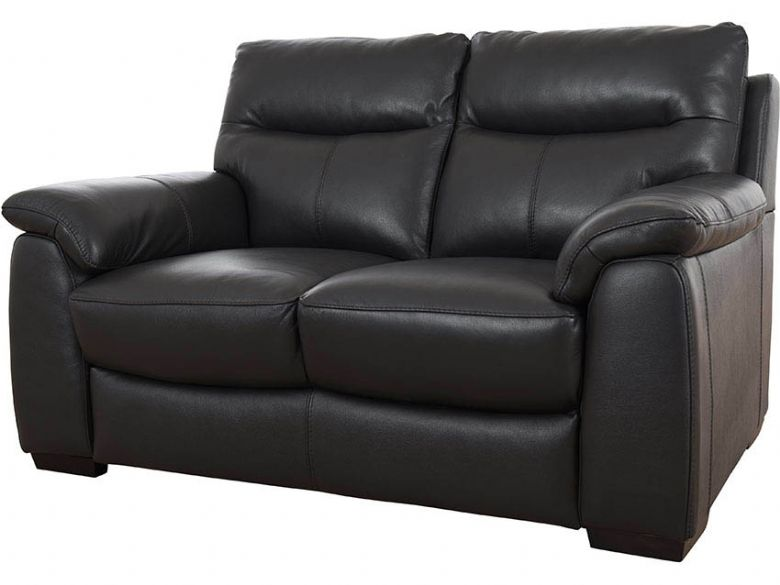 Odette black leather two seater sofa finance options available