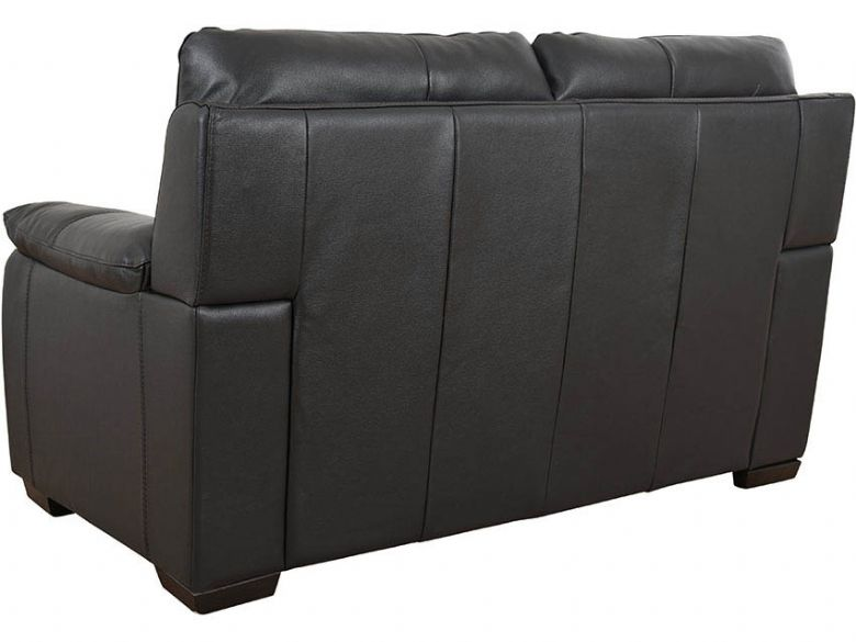 Odette black leather 2 seat sofa