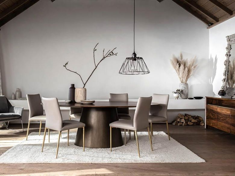Giovanny walnut and brass dinner table and collection