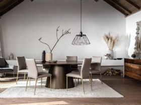 Giovanny dark wood and brass dining furniture