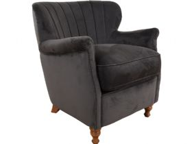 Paul Chair in Asphalt Velvet
