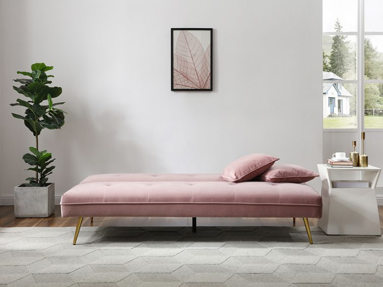 Lorenzo 3 seater pink sofa bed and Lee Longlands