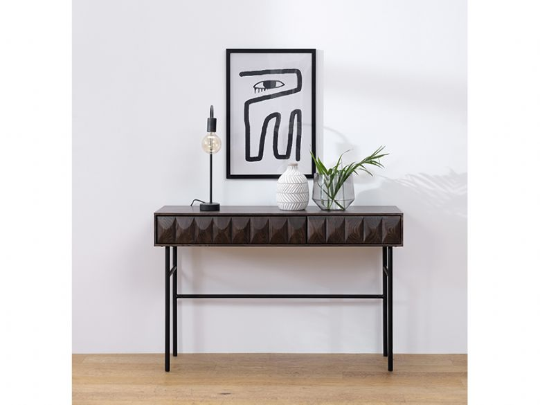 Dakota wooden console table with metal legs for industrial styling