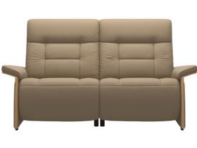 Stressless Mary 2 Seater Sofa With 2 Power - Paloma Funghi/Oak Arms