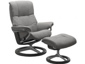 Stressless Mayfair Medium Leather Chair & Stool Signature Paloma Silver Grey