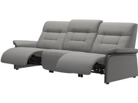 Stressless Mary grey leather 3 seater sofa quickship