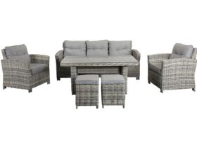 Georgia seven seat grey garden dining set available at Lee Longlands