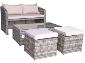 Indiana compact brown garden sofa set available at Lee Longlands