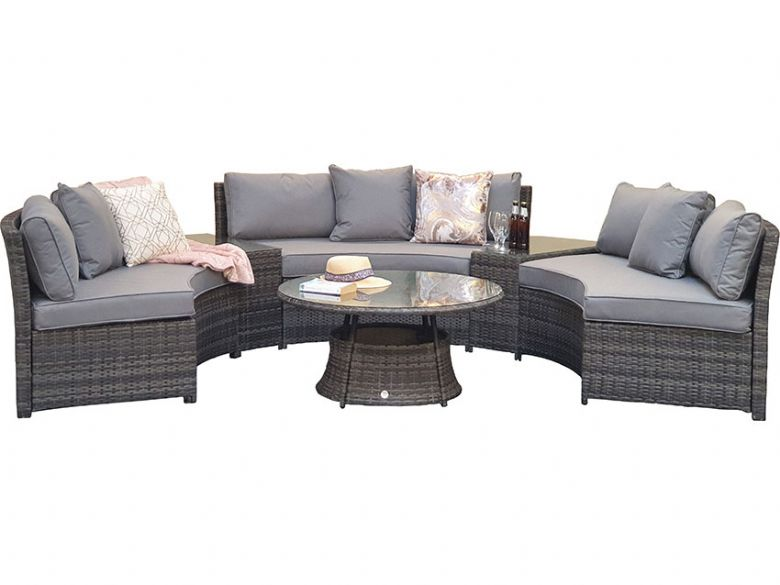 Alabama grey half moon garden sofa set available at Lee Longlands