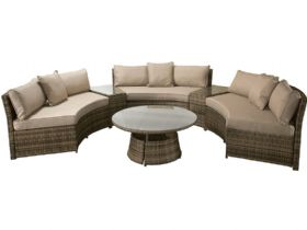 Alabama Brown Half Moon Garden Sofa Set