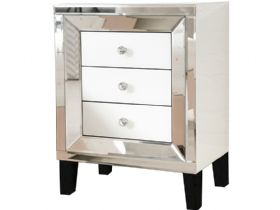 Florence Mirrored 3 Drawer Bedside Chest