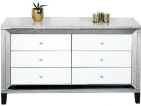 Florence Mirrored 6 Drawer Wide Chest of Drawers