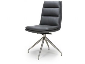 Tari grey with steel legs dining chair at Lee Longlands