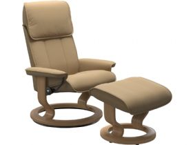 Stressless Admiral Medium Leather Chair & Stool