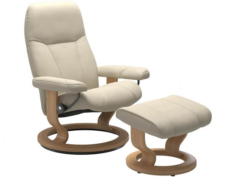 Stressless Consul Leather Recliner Chair & Stool in Batick Cream