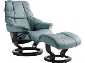 Stressless Reno Medium Leather Chair and Stool