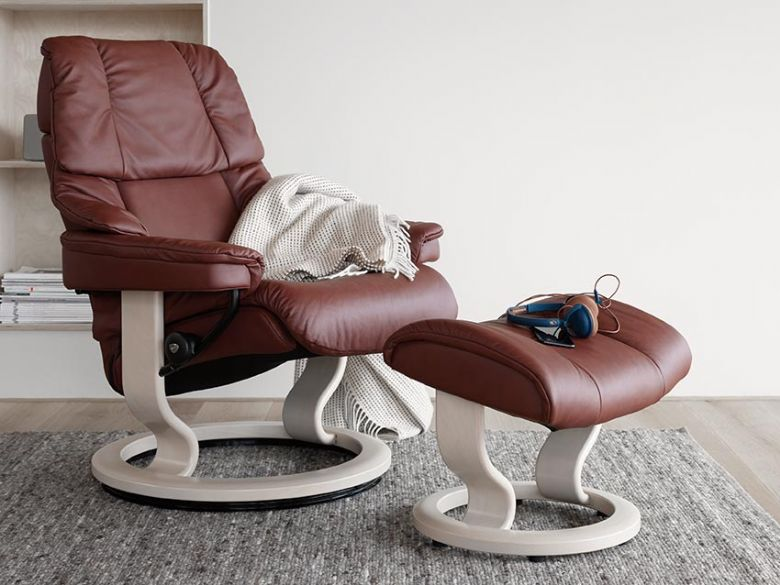 Stressless Reno Leather Chair in Paloma Maroon with Whitewash Base