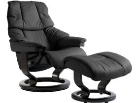 Stressless Reno Large Leather Chair and Stool