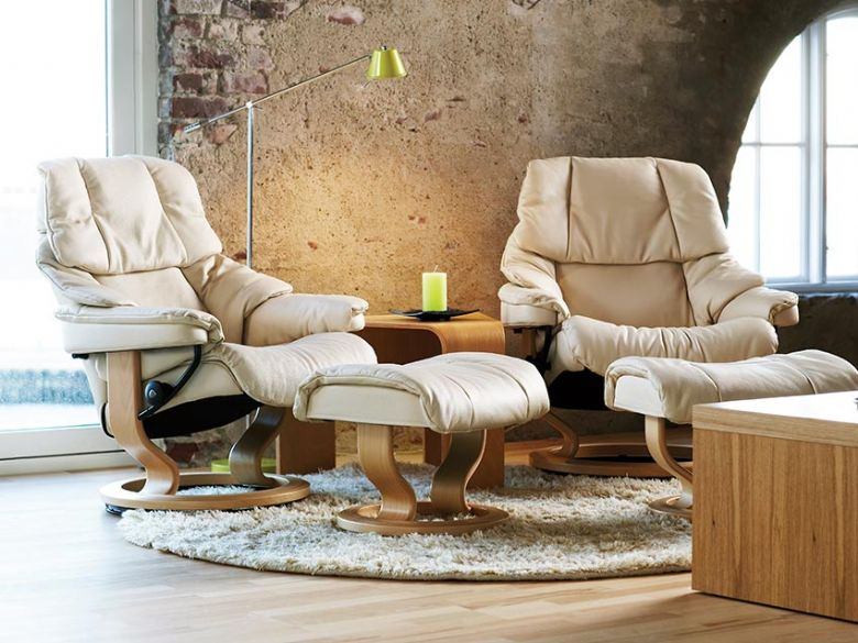 Stressless Reno Cream Leather Chair and Stool with Classic Base