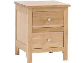 Oak 2 Drawer Bedside Chest