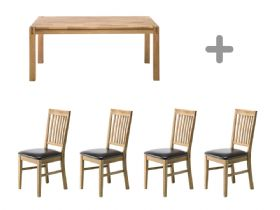 Duke 1.4m Dining Table & 4 Bi-Cast Pad Chairs