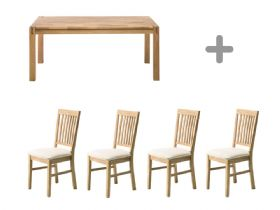 Duke 1.4m Dining Table & 4 Fabric Pad Chairs