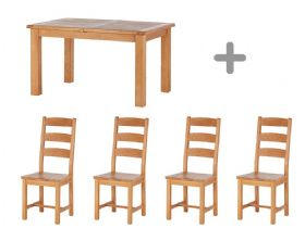 Small Extending Table & 4 Wooden Chairs