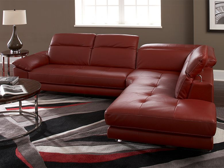 Natuzzi Editions Giovanna leather premium corner sofa. In red leather with chrome feet