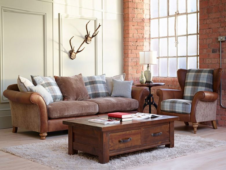 Longrow leather and fabric traditional sofa range in brown and mink