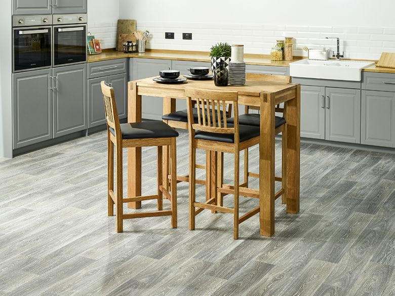Duke oak breakfast table and duke bar stools